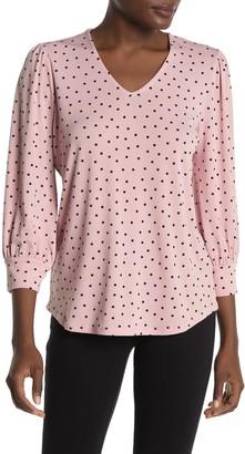 Adrianna Papell Polka Dot Print 3/4 Length Sleeve Blouse