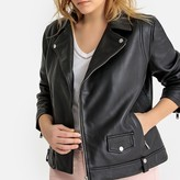 La Redoute Collections Plus Zip-Up Leather Biker Jacket with Pockets