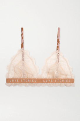 LOVE Stories Love Lacy Satin-trimmed Stretch-lace Soft-cup Triangle Bra - Ivory