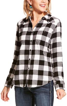 Ariat Women's Button Down Shirts BFFALO - Black & White Buffalo Plaid Billie Jean Button-Up - Women