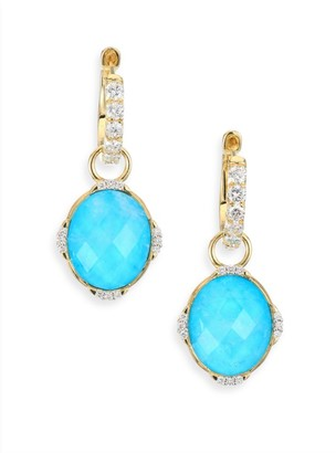 Jude Frances Diamond, Turquoise, Moonstone & 18K Yellow Gold Earring Charms