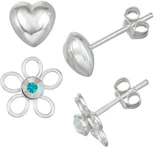 Charming Girl Kids' Sterling Silver Crystal Flower & Puffed Heart Earring Set