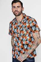 boohoo Short Sleeve Tropical Leaf Revere Shirt