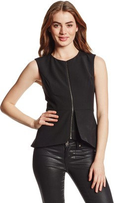 BCBGMAXAZRIA Women's Abrielle Woven Sleeveless Peplum Top
