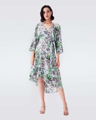 Diane von Furstenberg Eloise Silk Crepe De Chine High-Low Midi Dress in Willow Flowers Green
