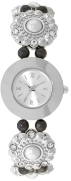 Charter Club Women's Imitation Pearl & Crystal Flower Silver-Tone Bracelet Watch 25mm, Created for Macy's