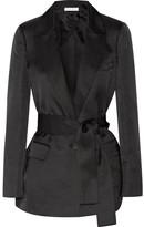 Barbara Casasola Belted Wool And Silk-blend Blazer - Black