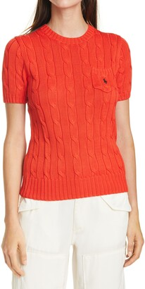 Polo Ralph Lauren Classic Cable Knit Short Sleeve Sweater