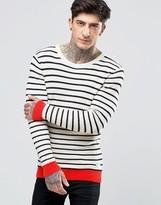 Scotch & Soda Jumper With Stripe Contrast Hem And Cuff In White Stripe