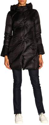Fay Jacket Twist Long Down Jacket With Frogs And Hood