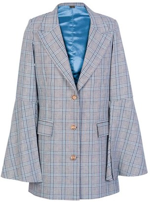 L2r The Label Single Breasted Blazer - Grey And Blue