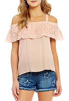 Jessica Simpson Roblin Cold Shoulder Lace Trim Ruffle Top
