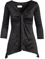 Glam Black Sequin-Accent Sidetail Tunic