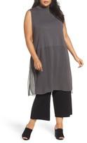 Eileen Fisher Plus Size Women's Silk Jersey & Chiffon Tunic