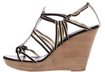 Chanel T-Strap Suede Wedges