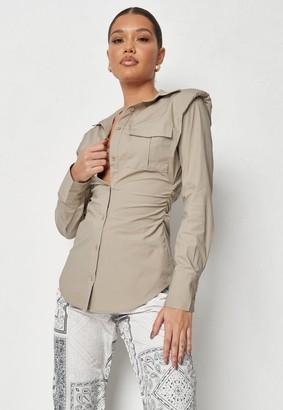 Missguided Brown Shoulder Pad Curved Hem Shirt