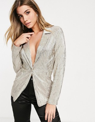 ASOS DESIGN jersey sparkle suit blazer in silver
