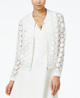 XOXO Juniors' Sheer Lace Bomber Jacket