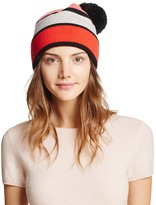 Kate Spade Color Block Beanie with Pom-Pom