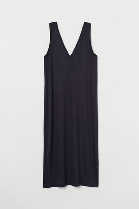 H&M V-neck Jersey Dress - Blue