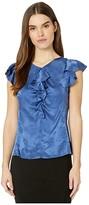 Rebecca Taylor Sleeveless Mimosa Jacquard Top (Cobalt) Women's Clothing