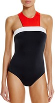 Carmen Marc Valvo High Neck One Piece Swimsuit