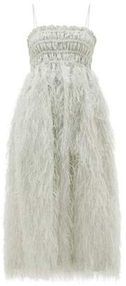 Ganni Feather-trimmed Shirred Lame Midi Dress - Womens - Ivory