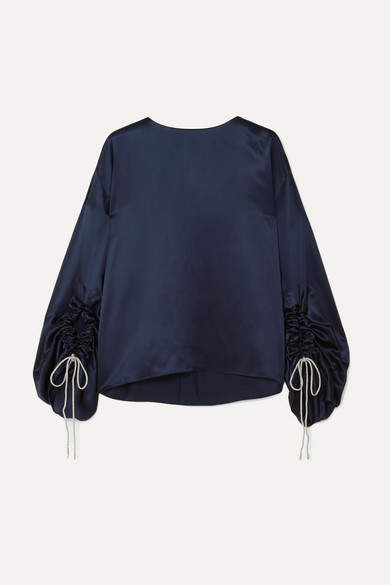 5409e5a64be504 Navy Silk Top - ShopStyle