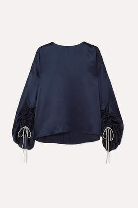 Hillier Bartley Ruched Metallic Silk-satin Top - Navy