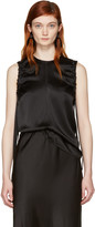 Helmut Lang Black Armhole Ruched Silk Tank Top