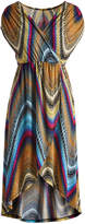 Glam Tan & Teal Abstract High-Low Surplice Dress