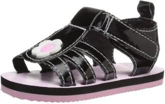 Gerber Girls' Black Flower eva Sandal-K 3 M US Infant