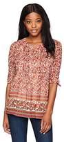 Daniel Rainn Women's 3/4 Roll Tab Sleeve Button Front Romantic Print Blouse Top