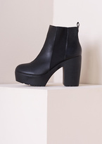 Missy Empire Sandy Elastic Cleated Sole High Heeled Boot