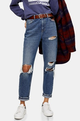 Topshop Womens Mid Blue Ripped Mom Tapered Jeans - Mid Stone