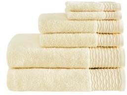Madison Home USA Breeze 6-Pc Jacquard Wavy Border Zero Twist Towel Set Bedding