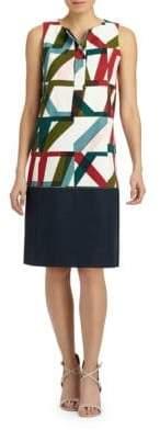 Lafayette 148 New York Abstract Geo Print Shift Dress