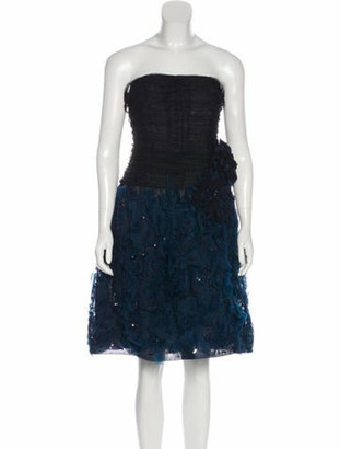 Oscar de la Renta Embellished Tulle Dress Black