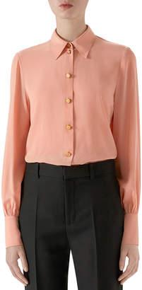 Gucci Vintage Silk Crepe Button-Front Blouse