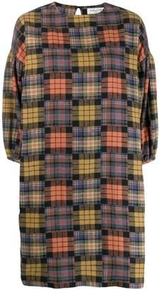 YMC patchwork plaid shift dress