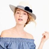 J.Crew Straw hat with pom-poms