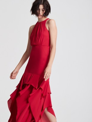 Halston Sleeveless Ruffle Skirt Silky Georgette Gown