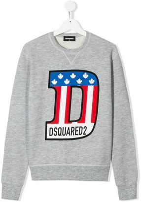 DSQUARED2 TEEN monogram print relaxed-fit sweatshirt