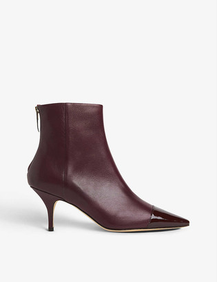 LK Bennett Athena patent leather-toecap leather ankle boots