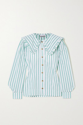 Ganni Feathery Striped Cotton-poplin Blouse - Ivory
