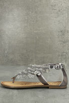 Naughty Monkey Brave Heart Pewter Leather Sandals