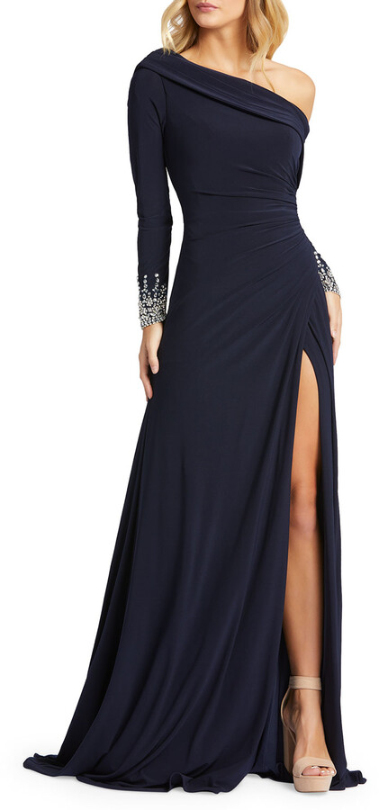 Mac Duggal Long-Sleeve Beaded Cuff Asymmetric Jersey Wrap Gown