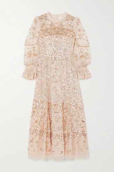Needle & Thread Ruffled Sequined Tulle Midi Dress - Blush