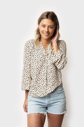 Gibson Long Sleeve Split Neck Blouse