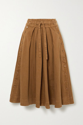 Ulla Johnson Micah Belted Cotton-blend Twill Midi Skirt - Camel